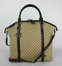 New Gucci Beige/Brown Diamante Canvas Bag w/Interlocking G Charm 339551 9903