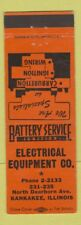 Matchbook Cover - Electrical Equipment Battery Service Kankakee IL