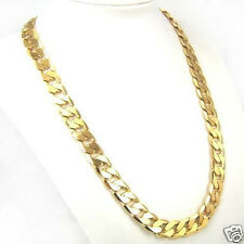 """23.6"""" 10mm 24k Yellow Gold Filled Solid Cuban Curb Chain Mens Necklace"""