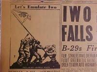 VINTAGE NEWSPAPER HEADLINE ~WORLD WAR 2 IWO JIMA JAPAN ISLAND INVASION WWII 1945