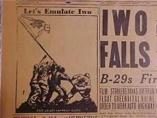VINTAGE NEWSPAPER HEADLINE~WORLD WAR JAPAN IWO JIMA JAPANESE ISLAND BATTLE WWII