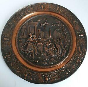 Antique Italian Continental Bronze Tazza Copper Dish Grand Tour Bowl Plaque