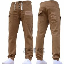 Mens AD DESIGNER Stretch Cuffed Jogger Jeans Chinos Pants Waist Size 28-48 Sand 32 In. 32l
