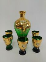 Czech Bohemian Glass Decanter & 5 Glasses 22k Gold Hand Painted Applied Flowers