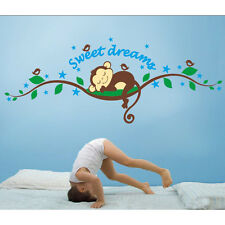 Sweet Dreams Monkeys Tree Branch Birds Giant Baby Wall Sticker for Children Room
