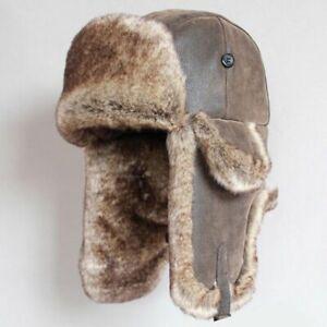 Vintage Bomber Hat Warm Winter Russian Ushanka Cap Faux Leather Men Trapper Hat