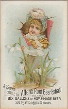 Victorian Trade Card-Allen's Root Beer Extract-Lowell, MA-Trompe L'oeil-Girl