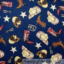 BonEful Fabric FQ Cotton Quilt VTG Navy Blue Horse Shoe Bandanna Cowboy Star USA