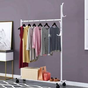 Heavy Duty Hanging Clothes Garment Rail with Shoe Rack Shelf and Hat Stand UK