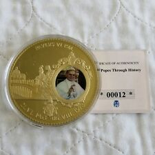 2012 POPE PAUL VI  70mm LARGE GOLD PLATED COLOURED PROOF MEDAL - coa