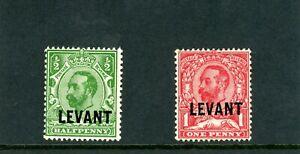 BRL004 Error Variety British Levant George V 1/2d & 1d OP  stamps (L14-15) Mint