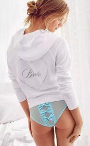 Victoria's Secret SEXY LITTLE THINGS I DO Cheekini Panty Blue Bows Bling S Bride
