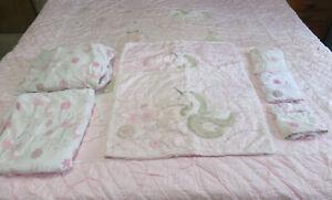POTTERY BARN Kids Queen UNICORN QUILT Set Pink Sheets Pillowcases Shams *NICE*