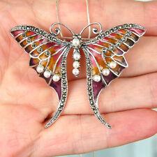 #P486 Pendentif Broche Papillon Argent Massif 925 Perle & Email