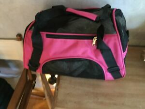 Pet Travel Carrier Soft Side Small Animal Pink & Black Mesh 15 inch up to 8 lbs