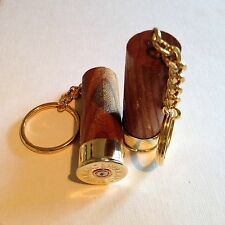 Holland & Holland Shotgun Shell Cartridge Cap Solid Elm wood Keyrings X 2 gift!
