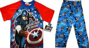 The First Avenger Captain America Pajamas size 10-12 Large Boys Child New Marvel