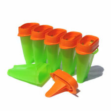 Tupperware Lollitups Ice Tups ICY POLE Makers Set of 6 Green / Orange NEW