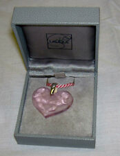 Authentic LALIQUE France Pink Heart Angel Cherub Crystal Pendant Necklace +Box