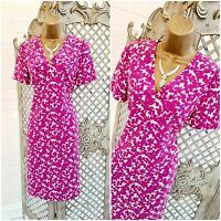 MARKS & SPENCER COLLECTION UK 8 Pink Floral Print A-Line Tea Dress Summer