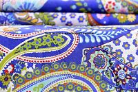 Indian Soft Cotton Paisley Print Blue Fabric Dressing Sewing Decor Craft 5 Yard