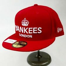 New era mens 100%authentic fitted hat 59fifty 7-1/2 red New York Yankees mlb