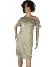 Viola Womens Dress Gold Sequin Shiny Fit Stretch Off The Shoulder Ruffle Small