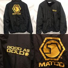 VTG Matco Tools Jacket Embroidered Black Gold Mens Size L Good As Gold