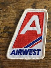 Vintage Airwest Sew On Embroidered Patch Plane Flying Canadian Airline Air