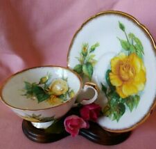 Vintage Parragon Yellow Roses Bone China Tea Cup & Saucer Set Signed by Mitzi