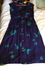 Vintage 1980's Handmade Low V-Back Navy & Emerald Print Blouson Dress, 12/14