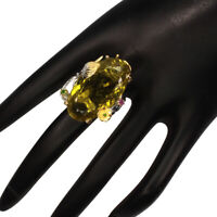 Handmade 47ct Green Gold Quartz Chrome Diopside Ruby 925 Sterling Silver Ring