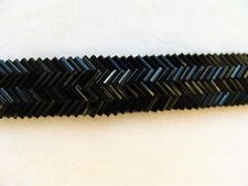 "BTY ~ Beautiful 3/4"" Black Beaded Trim ~ Chevron Pattern ~ Attached Sewing Lip"