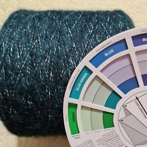 500g+ Soft Mohair Look Cashmere Angora Wool Blend Yarn Green Teal tweed look