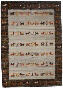 Brown Border Indo-Gabbeh 4X6 Tribal Pictorial Style Handmade Oriental Rug Carpet
