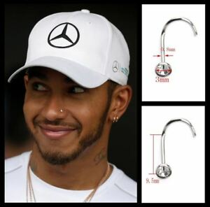 Men's/Boy's: Lewis Hamilton 18ct White Gold Plated 3mm Crystal Diamond Nose Stud