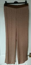 Gorgeous La Redoute Laura Clement Brown Printed Satin Feel Trousers Size 10 BNWT