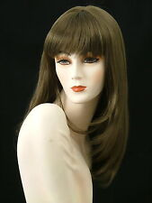 Long Wigs Skin Top w/Bangs Layered   Medium Golden Brown     F18