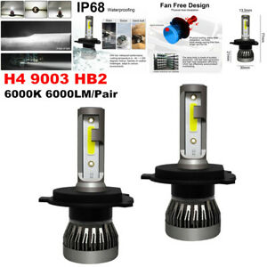 2PCS Car SUV 6000K H4 9003 HB2 LED Headlight Kit 1200W 6000LM Hi/Lo Beam Bulbs