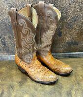 Vintage 1980s Mens Tony Lama Ostrich Cowboy Boots ~ El Rey Collection USA 7.5 D
