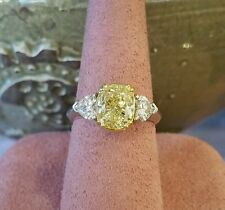 GIA 2.54 ct Fancy Yellow Cushion Diamond Ring with Heart Shapes in 18k/Plat-C300