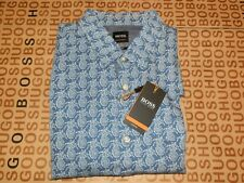 New Hugo Boss mens blue pineapple designer slim fit casual suit shirt Medium £89