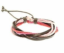 Leather and Cord Strap Bracelet Wristband White Pink Surf Surfer