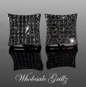 $130 Mens Simulate BLACK Diamond 14k BLACK Gold gp Earrings ICE Hip Hop Jewelry!