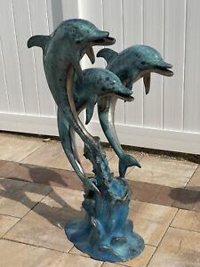 "Bronze 3 Dolphin Fountain Sculpture 41"" Tall!!! $$$"