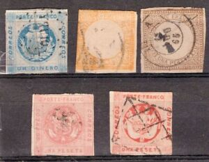 PERU, 5 CLASSIC STAMPS, W/SOME DEFECTS
