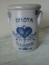 "SCIOTA ILLINOIS 5"" X 7"" Rockdale Union Stoneware Salt Glaze 1989 Small Crock NEW"