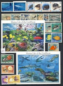 Fish and Sealife beautiful mnh vf sheets and sets with WWF, others on 2 pages