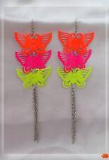 Boucles d'Oreilles Vola Papillons Métal Orange Rose Jaune Chaînes Extra Longues