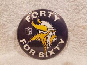 VERY RARE 1969 Minnesota Vikings 40 For 60 3 1/2 Inch Button, Joe Kapp, NICE!